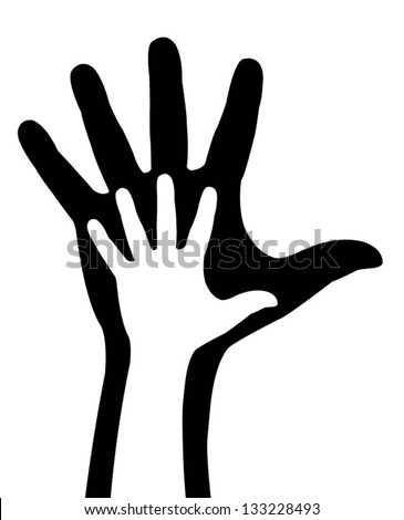 hand and arm silhouette, vector - stock vector