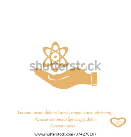 hand and atom, molecule. symbol icon of physics or chemistry . - stock vector