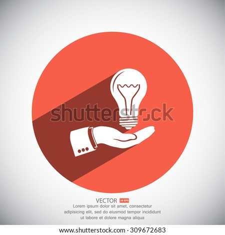hand and bulb. icon. Vector Eps 10 - stock vector