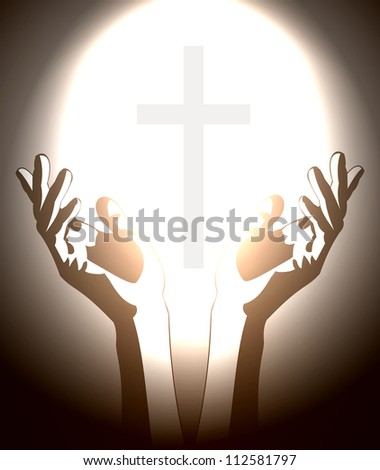 hand and christian cross silhouette - stock vector