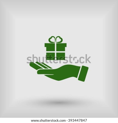 Hand and gifts icon - stock vector