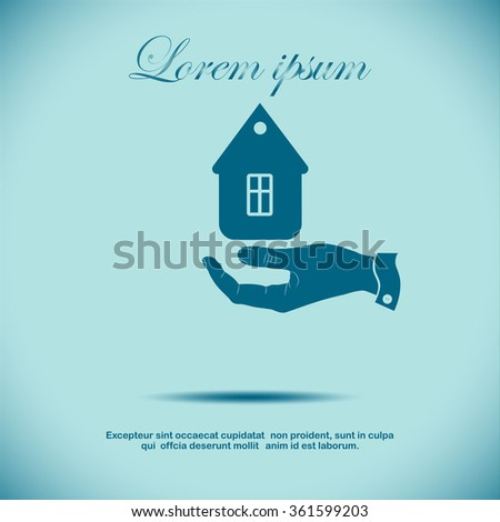 hand and home, icon - stock vector