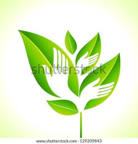 Hand and Leaf - Eco concept - stock vector
