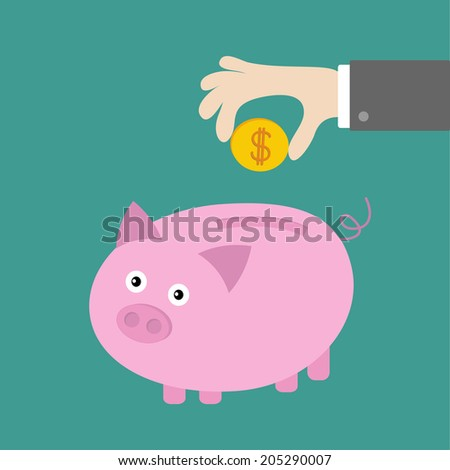 Hand and piggy bank with dollar coin. Card. Flat design. Vector illustration - stock vector