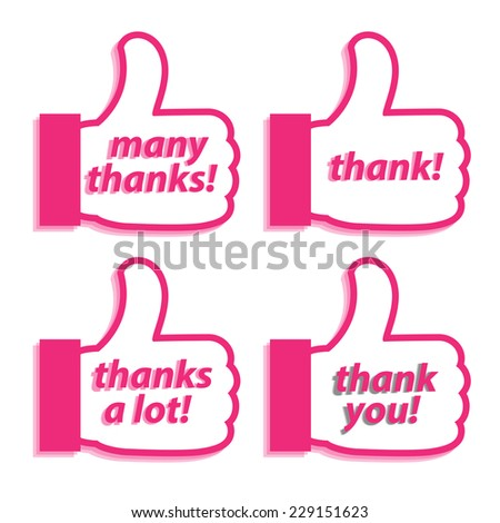 Hand and words to talk about Thank vector illustrations. - stock vector