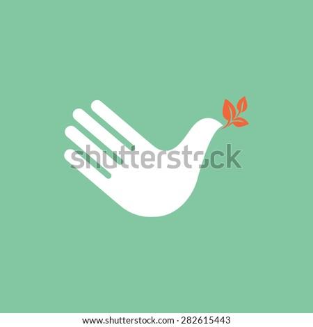 Hand as dove of peace. Creative icon.? - stock vector