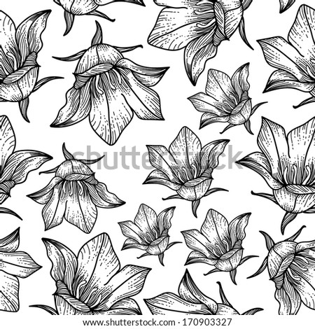 Bell Flowers Drawing Hand Bell Flower Pattern