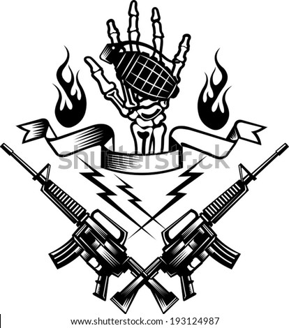 hand bone hold a grenade bomb  - stock vector