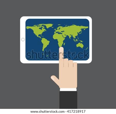 Hand click on map at tablet screen, data source NASA, vector illustration - stock vector