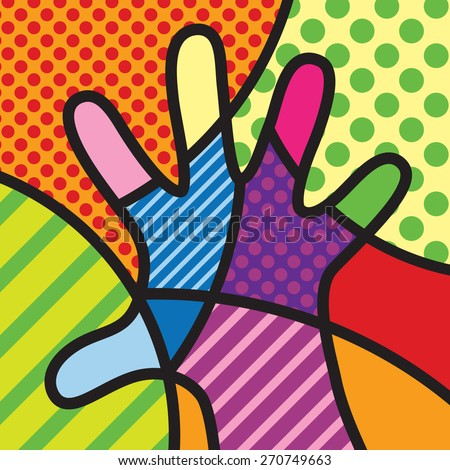 Pop Art Design Hand Colorful Pop Art Modern Illustration For Your Design Stock