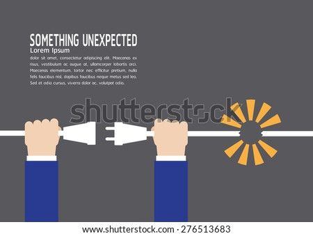 Hand connect plug, Risk unexpected concept - stock vector