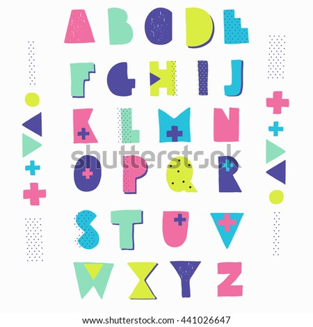 Hand crafted alphabet. Geometric shapes, bright colors, hipster style lettering. birthday, wedding, isolated, web template - stock vector