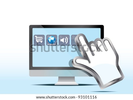 hand cursor and lcd computer - stock vector