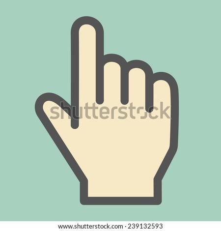 Hand Cursor Flat Icon - stock vector