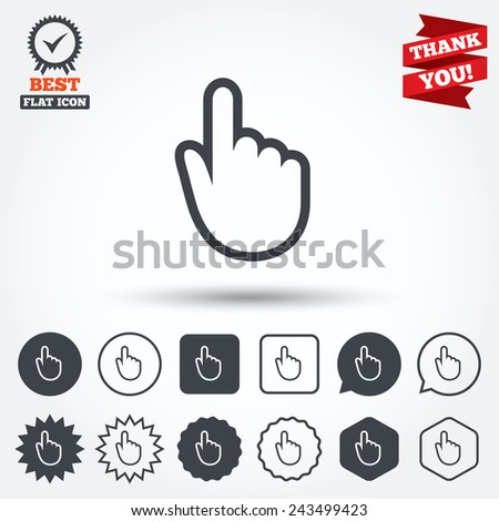 Hand cursor sign icon. Hand pointer symbol. Circle, star, speech bubble and square buttons. Award medal with check mark. Thank you ribbon. Vector - stock vector