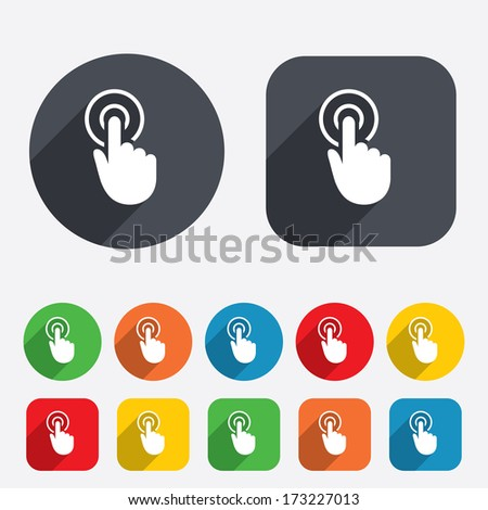 Hand cursor sign icon. Hand pointer symbol. Circles and rounded squares 12 buttons. Vector - stock vector