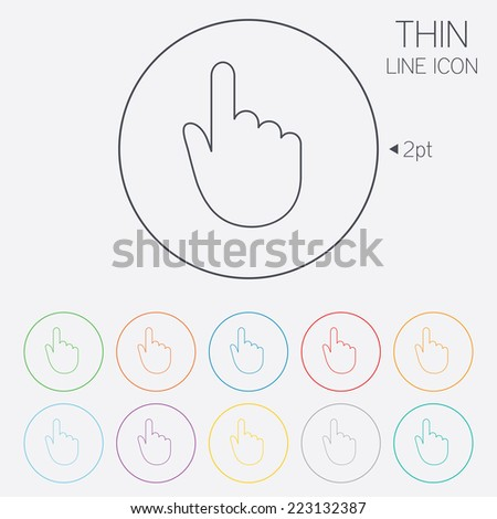 Hand cursor sign icon. Hand pointer symbol. Thin line circle web icons with outline. Vector - stock vector