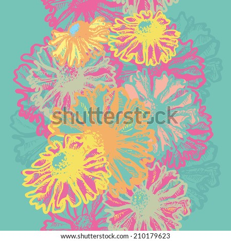 Hand dawn bright floral seamless border.  All objects are conveniently grouped  and are easily editable. - stock vector