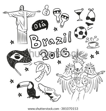 hand doodle Brazil element with 2016 text, great for your design - stock vector