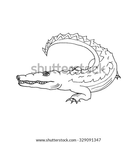 hand draw a crocodile-style sketch for registration cards, textiles, coloring, tattoo white - stock vector