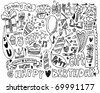 hand draw birthday element - stock vector