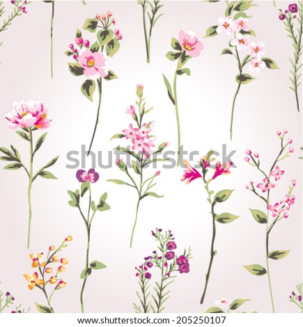 hand draw branch flower,spring pattern vector background - stock vector