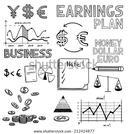 Hand draw business finance doodle sketch money icon, dollar euro sign graph, chart - stock vector