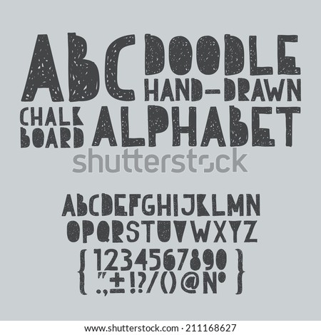 Hand draw doodle abc, alphabet grunge scratch type font vector illustration. - stock vector