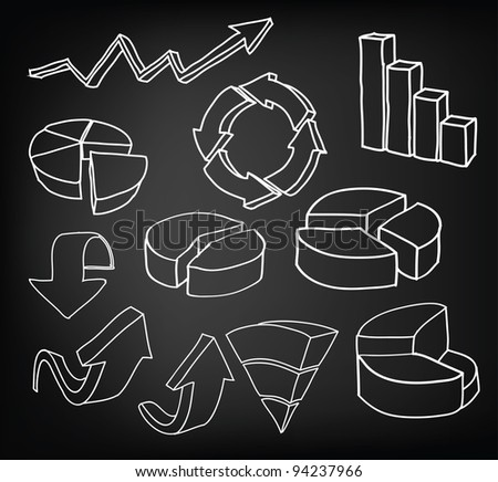 Hand draw graph set - stock vector