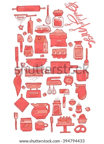 Hand draw icons set of kitchen tools,baking graphic elements for web site design,cook book and recipes.Baking hand draw coral color  icons.Bakery House calligraphy. - stock vector
