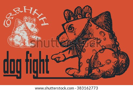 hand draw of dog with text dog fight isolated on dark orange background - stock vector
