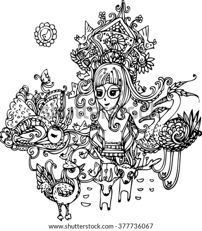 hand draw of girl,bird and chicken design - stock vector