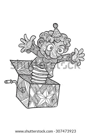 Hand draw of Jack in the box in zentangle style - stock vector