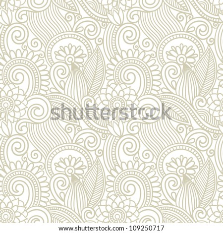 hand draw ornate seamless flower paisley design background - stock vector