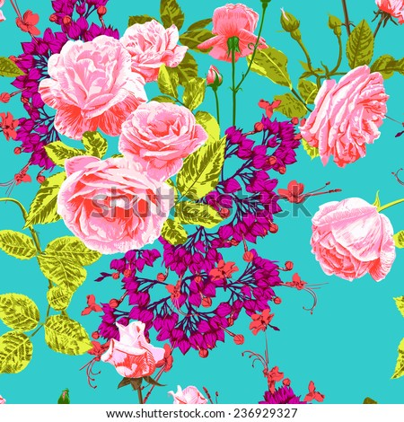 hand draw pink roses and small purple flowers on a blue and green background, vector , horizontal tile arrangement - stock vector