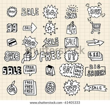hand draw sale element - stock vector