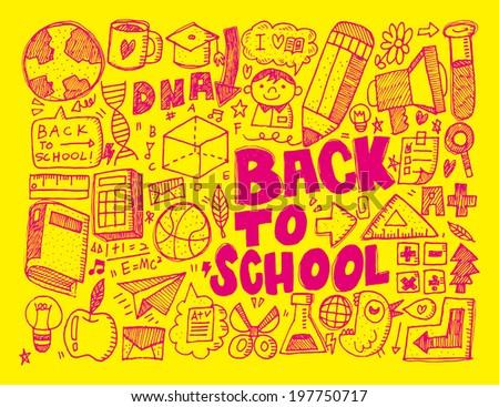 hand draw school element - stock vector
