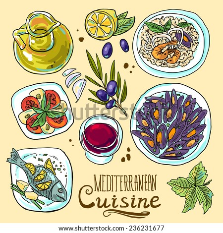 hand-draw set of Mediterranean food- salad, mussels, olive oil, red wine, fish, risotto - stock vector