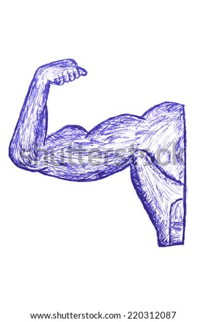 Hand Draw Sketch of Muscle Man  - stock vector