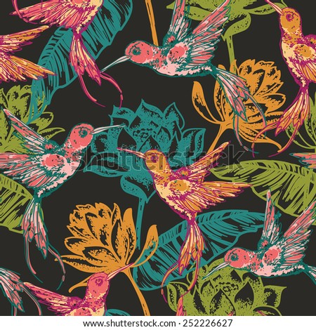 Hand draw tropical  background with hummingbirds and flowers. Seamless pattern. - stock vector
