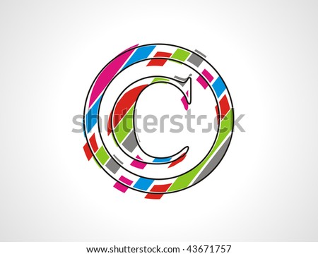 hand draw Vector copyright stamp with white background - stock vector