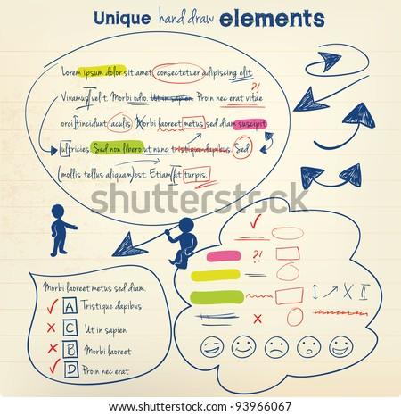 Hand draw vector elements - stock vector