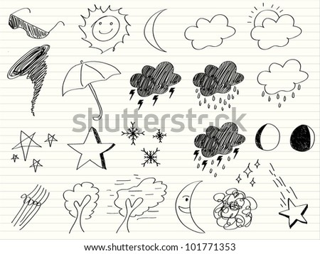 hand draw Weather icon - stock vector