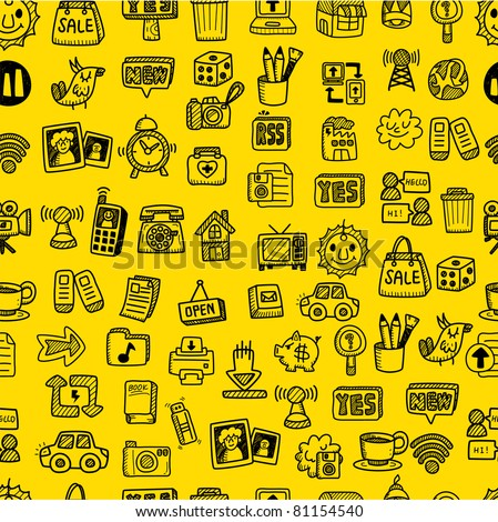 hand draw web icons seamless pattern - stock vector