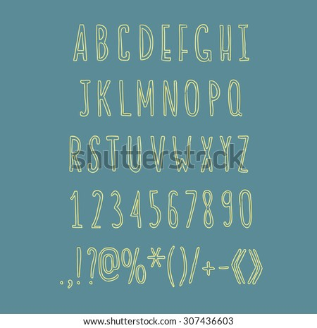 Hand drawin alphabet handwritting abc vector linear font. Type letters, numbers and punctuation marks. - stock vector
