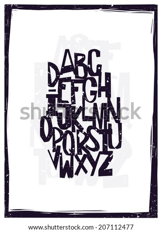 Hand drawing alphabet - stock vector