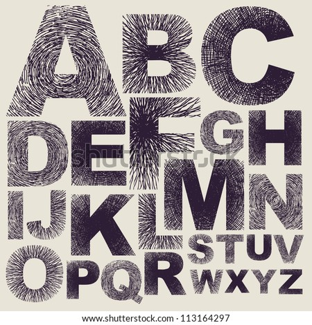 Hand drawing alphabet. Vector - stock vector