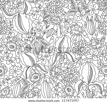 Hand drawing black floral seamless on white background - stock vector