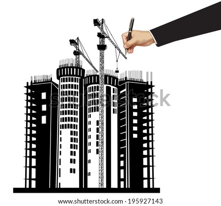 Hand drawing building design illustration vector - stock vector
