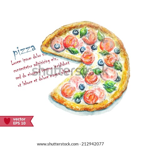 Hand drawing by water color a pizza - stock vector